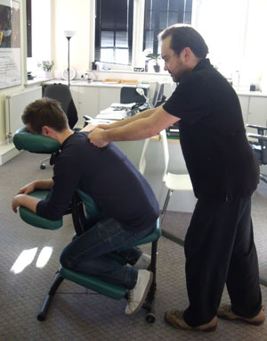 Peter giving an Acupressure Massage, Peter Scruby Therapies