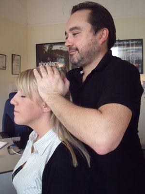 Peter giving an Indian Head Massage